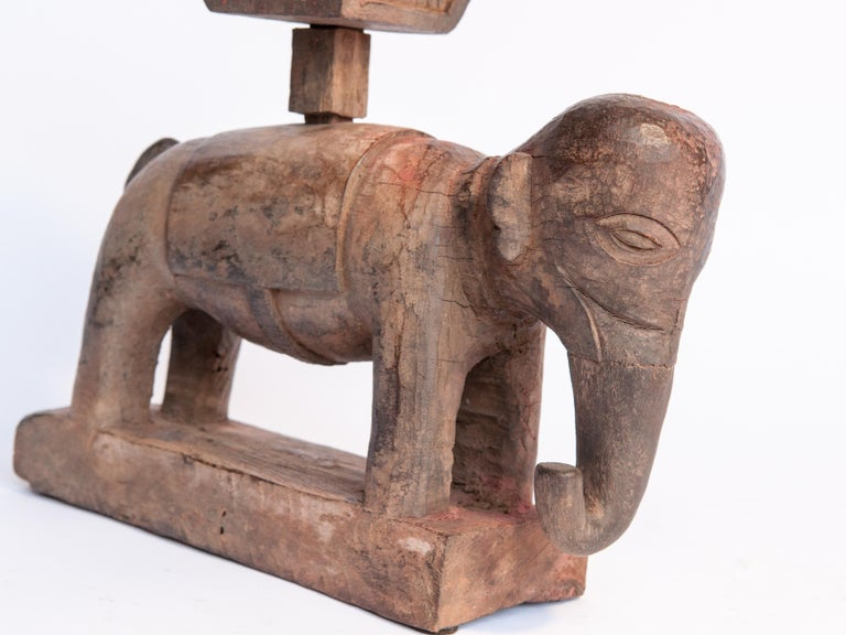 Nepalese Vintage Wooden Offering Holder Elephant Motif Newar of Nepal Mid-20th Century For Sale