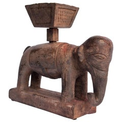 Vintage Wooden Offering Holder Elephant Motif Newar of Nepal Mid-20th Century