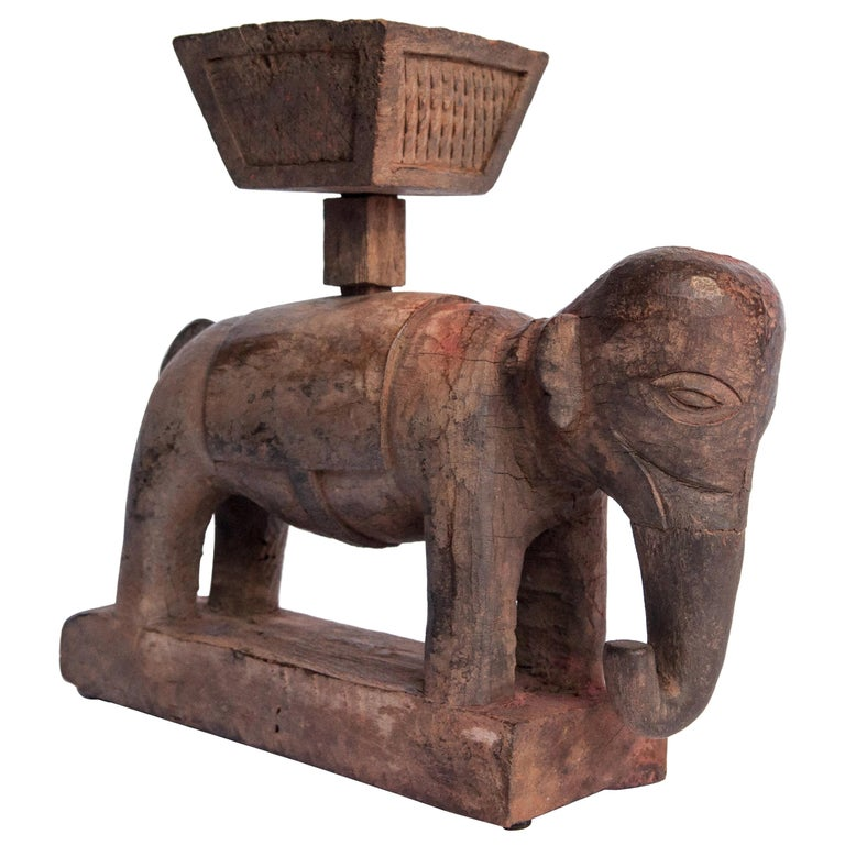Vintage Wooden Offering Holder Elephant Motif Newar of Nepal Mid-20th Century For Sale