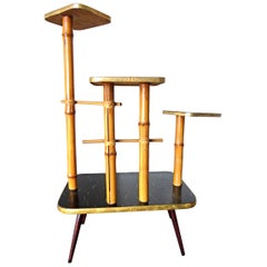 Vintage Wooden Plant Stand, 1950s