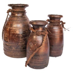 Vintage Wooden Pots Set of Three from the West Nepal Himal, Mid-20th Century