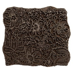 Vintage Wooden Printing Block from India, Late 20th Century