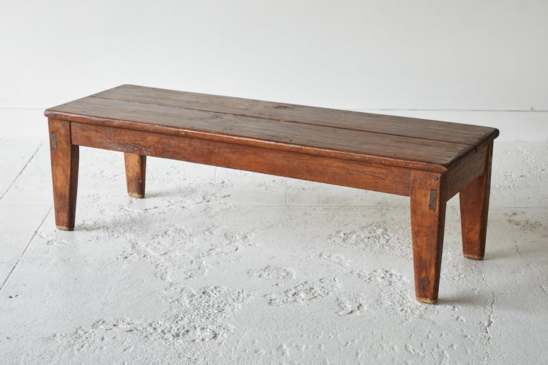 Vintage Wooden Rectangular Coffee Table For Sale 1