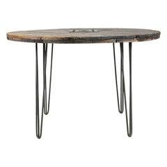 Vintage Wooden Spool Top Circular Table, 20th Century