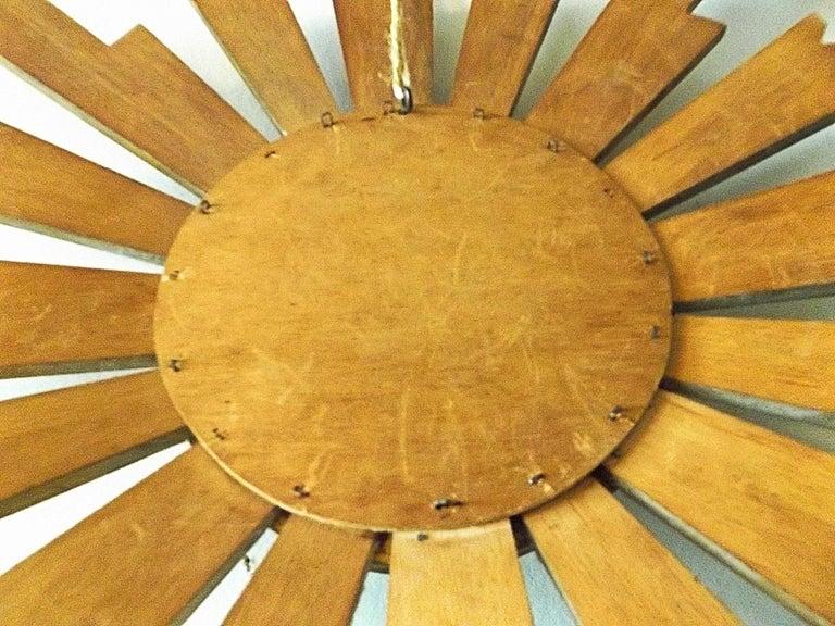 Vintage Wooden Sunburst Convex Mirror, 1950s For Sale 2