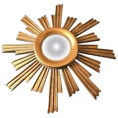 Vintage Wooden Sunburst Convex Mirror, 1950s