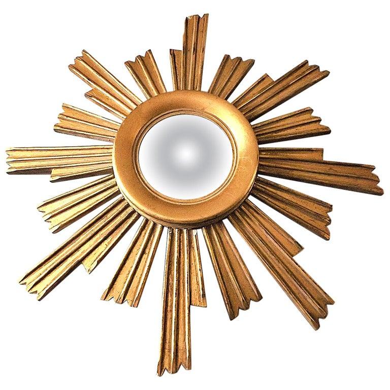 Vintage Wooden Sunburst Convex Mirror, 1950s For Sale