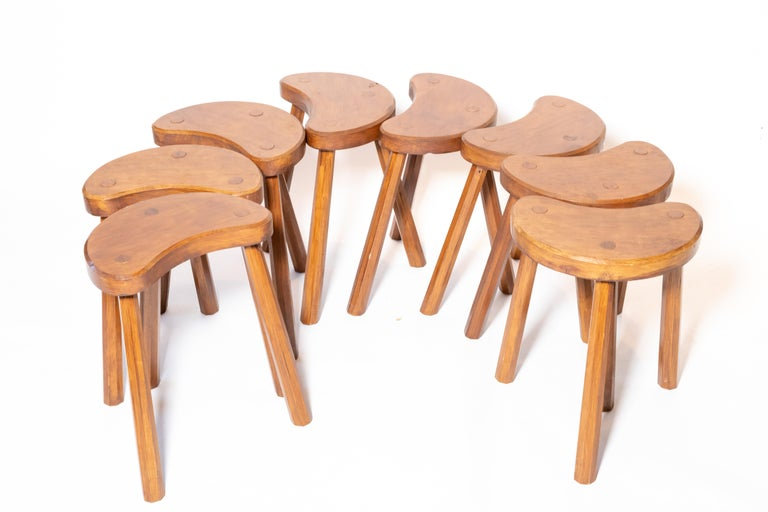 Vintage Wooden Tabouret Stool, France, circa 1950s For Sale 5