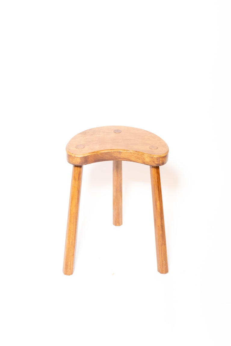 Wooden tabouret with three legs, France, 1950s