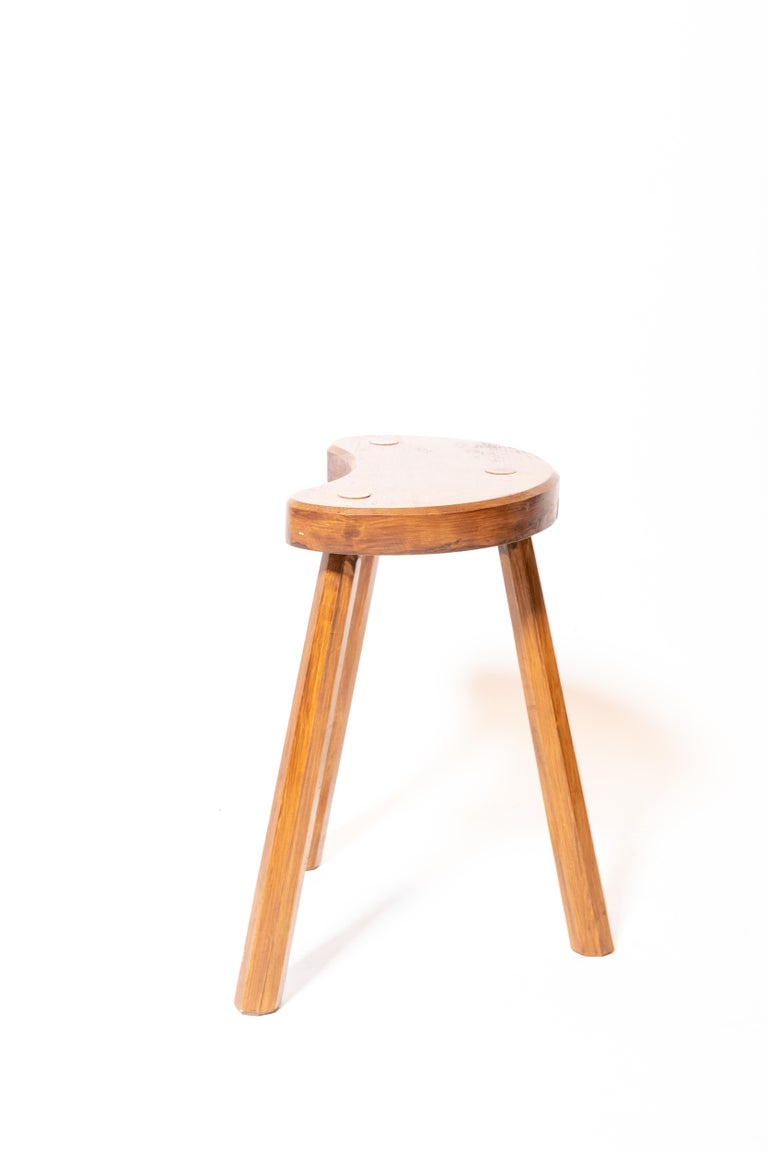 20th Century Vintage Wooden Tabouret Stool, France, circa 1950s For Sale