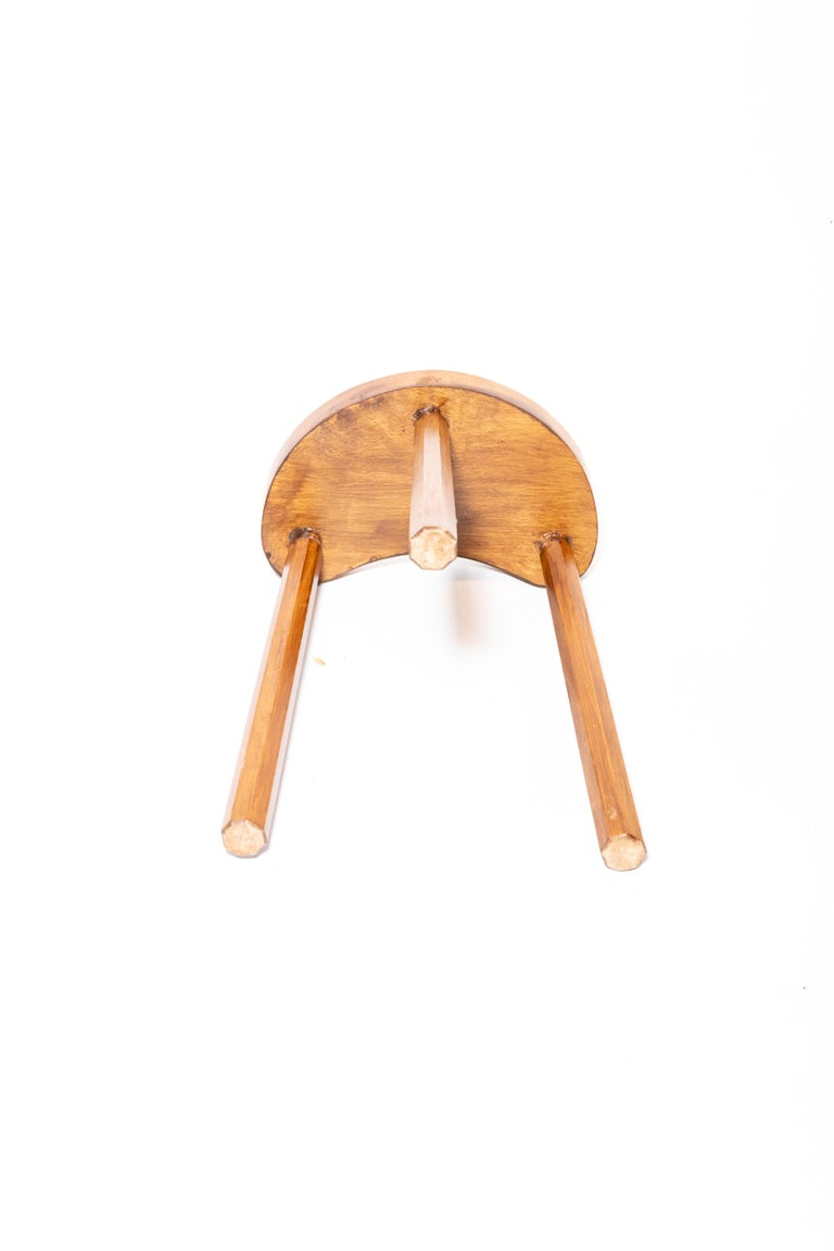 Vintage Wooden Tabouret Stool, France, circa 1950s For Sale 1