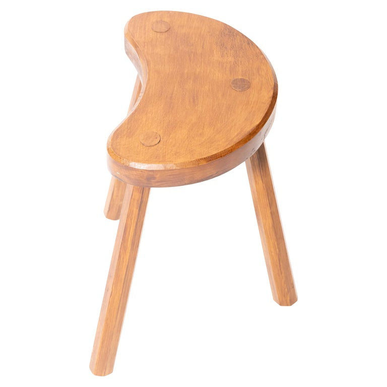 Vintage Wooden Tabouret Stool, France, circa 1950s For Sale
