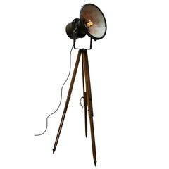 Vintage Wooden Tripod Metal Spot Light Clear Glass