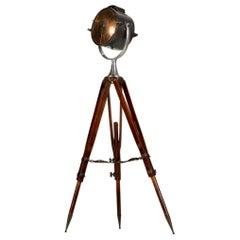 Vintage Wooden Tripod Spotlight Floor Lamp