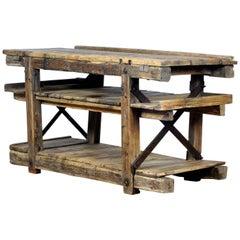 Vintage Wooden Worktable, circa 1930