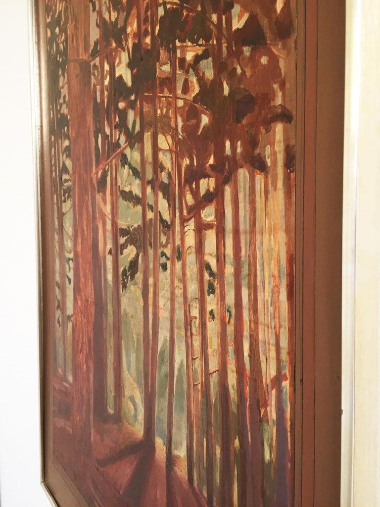 Bohemian Vintage Woods Painting by Alan Healey 1970s Vintage Retro Boho Safari For Sale
