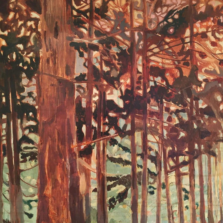 Vintage Woods Painting by Alan Healey 1970s Vintage Retro Boho Safari In Good Condition For Sale In London, GB