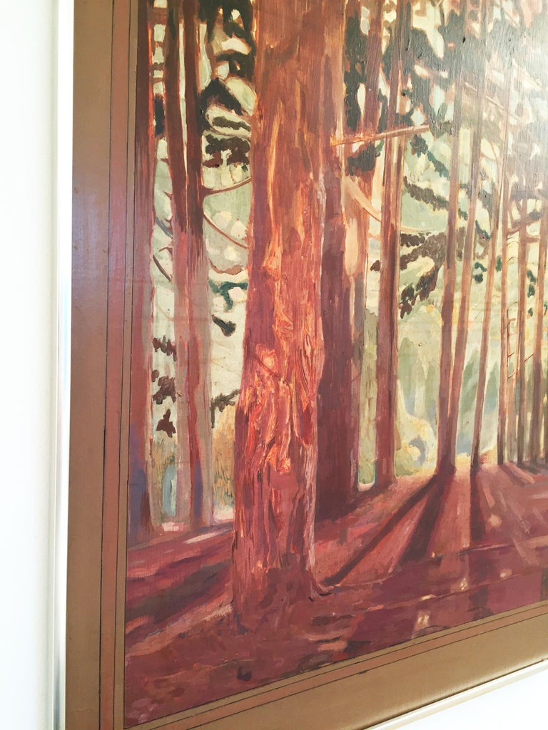 Late 20th Century Vintage Woods Painting by Alan Healey 1970s Vintage Retro Boho Safari For Sale