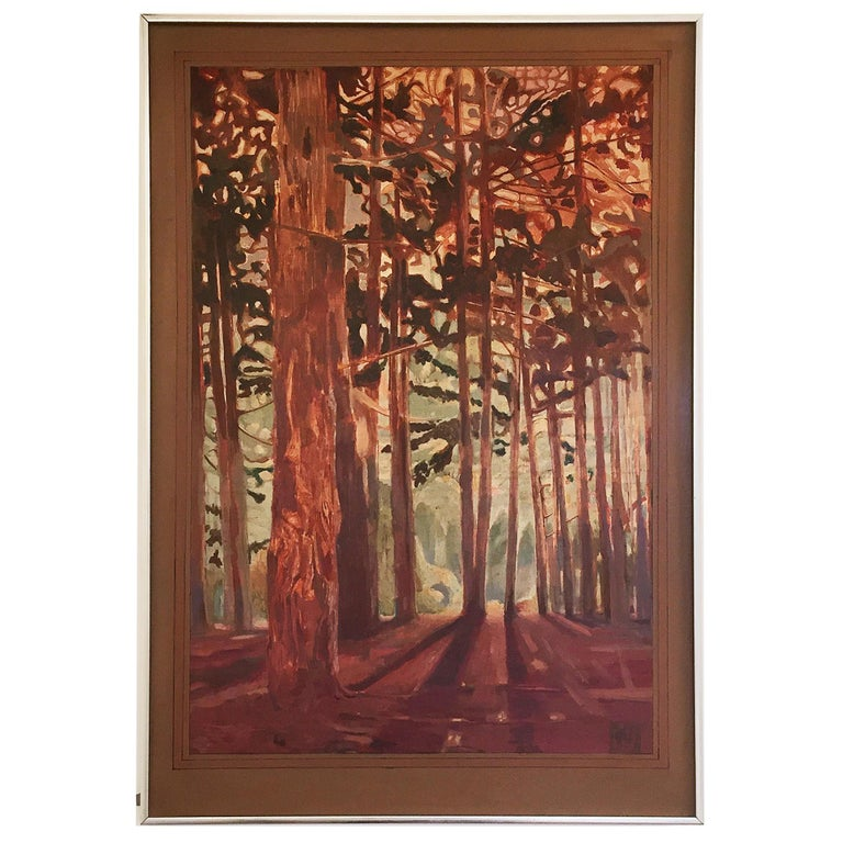 Vintage Woods Painting by Alan Healey 1970s Vintage Retro Boho Safari For Sale