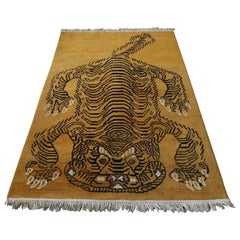 Vintage Wool Chinese Tibetan Tiger Rug
