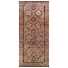 Vintage Wool Persian Qashqai Bohemian Worn Down Handmade Gallery Size Runner Rug