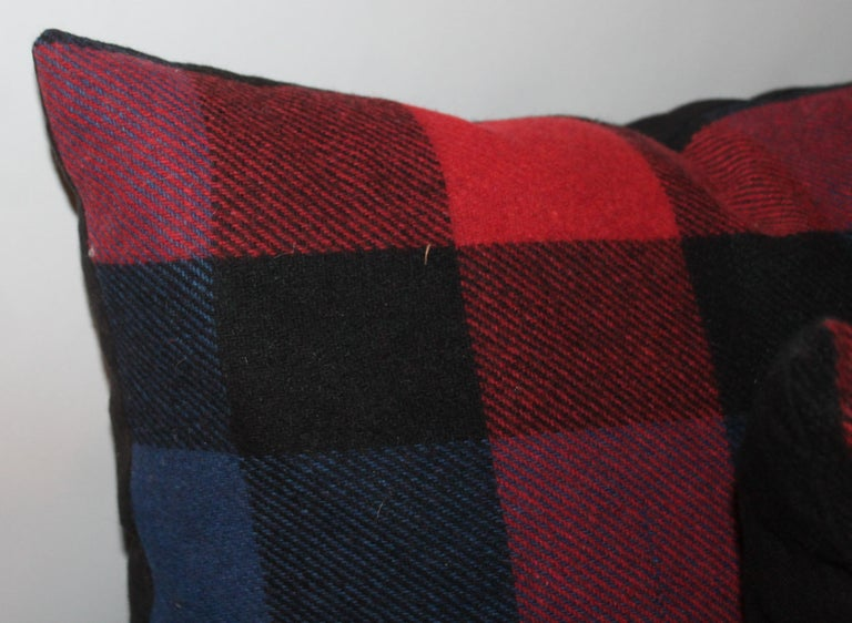 Country Vintage Wool Plaid Blanket Pillows, Pair For Sale
