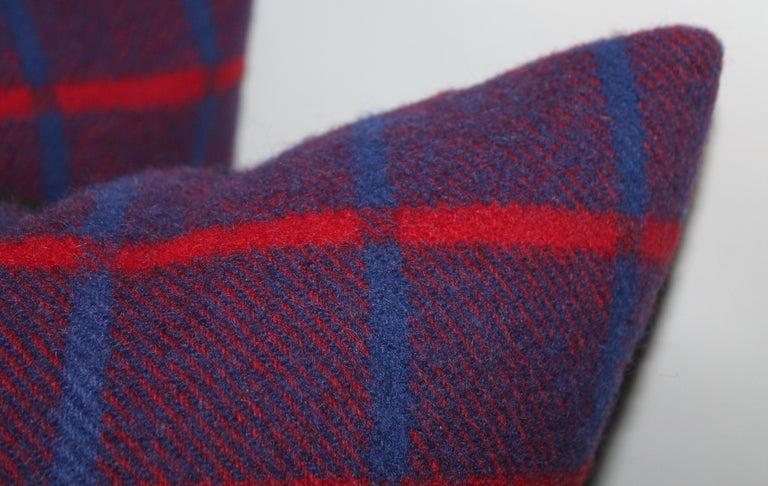 American Vintage Wool Plaid Blanket Pillows, Pair For Sale
