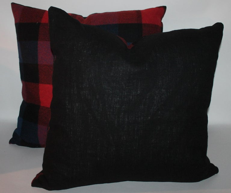 Hand-Crafted Vintage Wool Plaid Blanket Pillows, Pair For Sale