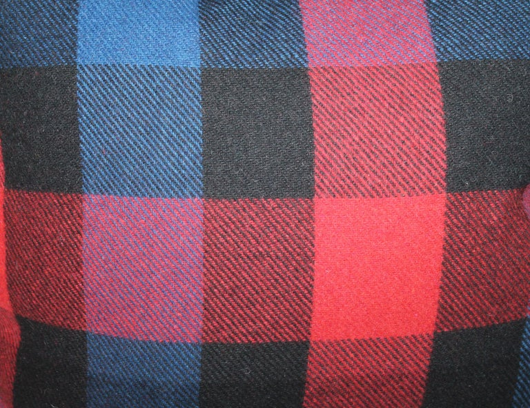 20th Century Vintage Wool Plaid Blanket Pillows, Pair For Sale