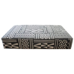 Vintage Wool Rug Cube Style Cocktail Ottoman in Black and Off-White