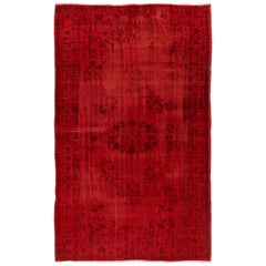 5.8 x 8.8 Ft Vintage Rug Overdyed in Red. Great for Modern Home & Office Decor