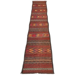 Vintage Wool Runner with Colorful Zigzag Pattern, Afghanistan, Late 19th Century