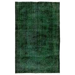 Vintage Wool Turkish Rug Redyed in Emerald, Seaweed, Pine Green Color