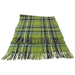 Vintage Woolen Green and Blue Plaid Throw