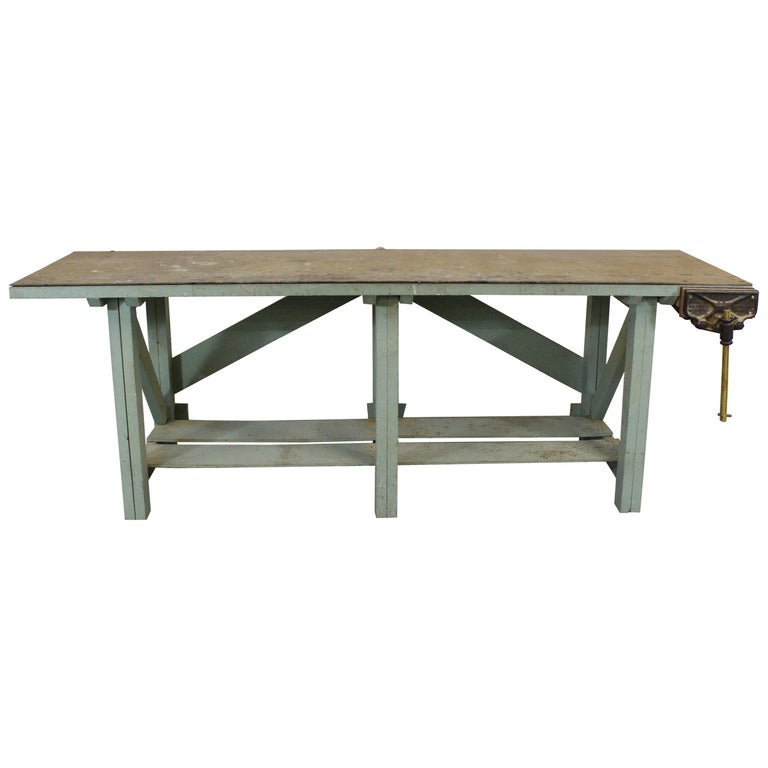 """Vintage Workbench 96"""" with Vise For Sale"""