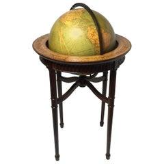 Vintage World Globe on Mahogany Stand