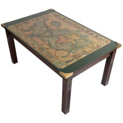 Vintage World Map Military Campaign Coffee Table by Maison Jansen, France