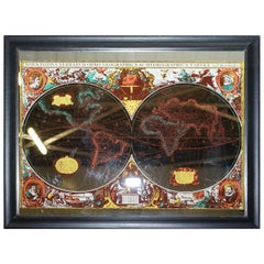 Vintage World Map Mirror Based on the Original by Johnson 1882 Military Campaign
