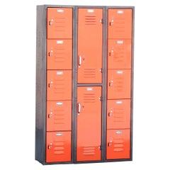 Vintage Worley Locker Unit with Multi-Door Storage, Refinished in Tangerine