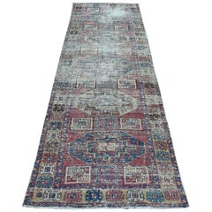 Vintage Worn Down Northwest Persian Karajeh Hand Knotted Wool Rug