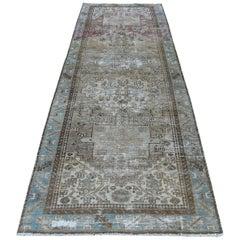 """Vintage Wide Runner Persian Karajeh Hand Knotted Wool Oriental Rug, 3'5"""" x 10'0"""""""