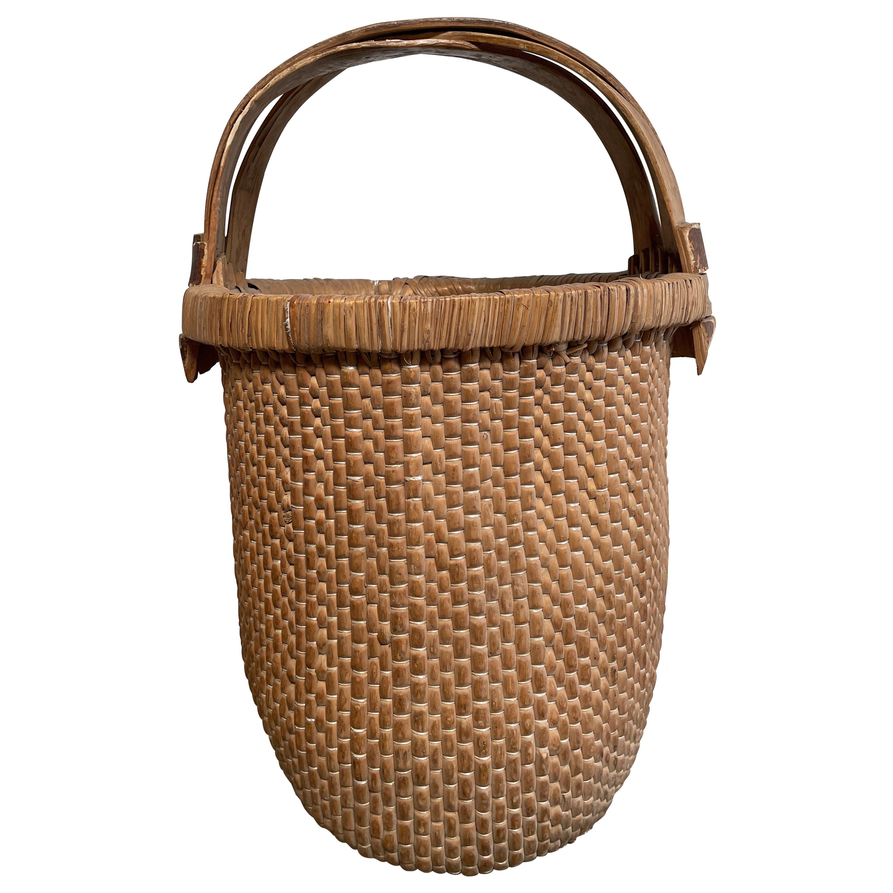 Vintage Woven Asian Basket with Handle