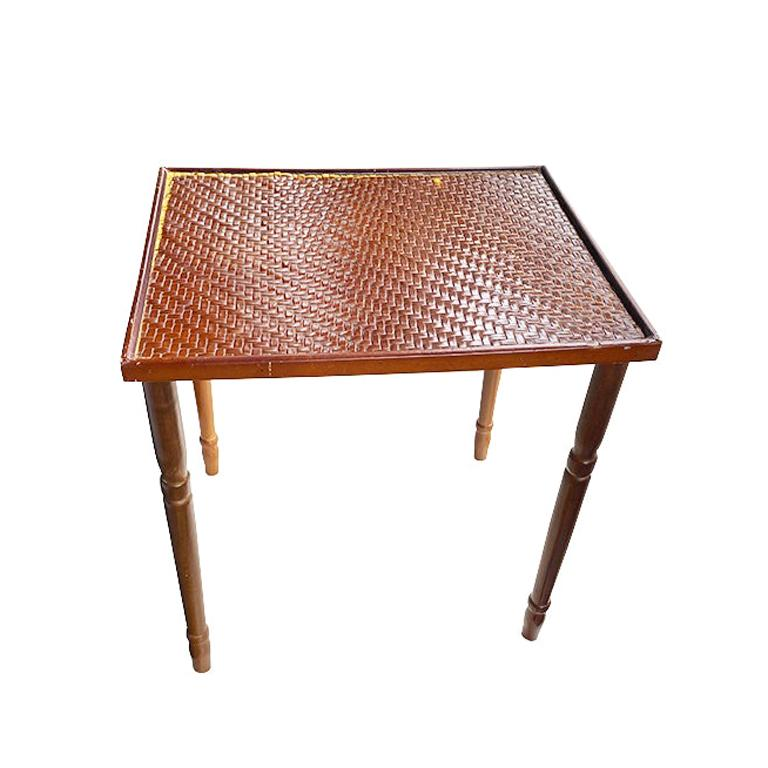 Vintage Woven Bamboo and Rattan Side Table or Plant Stand