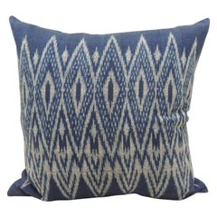 Vintage Woven Blue and White Ikat Decorative Square Pillow