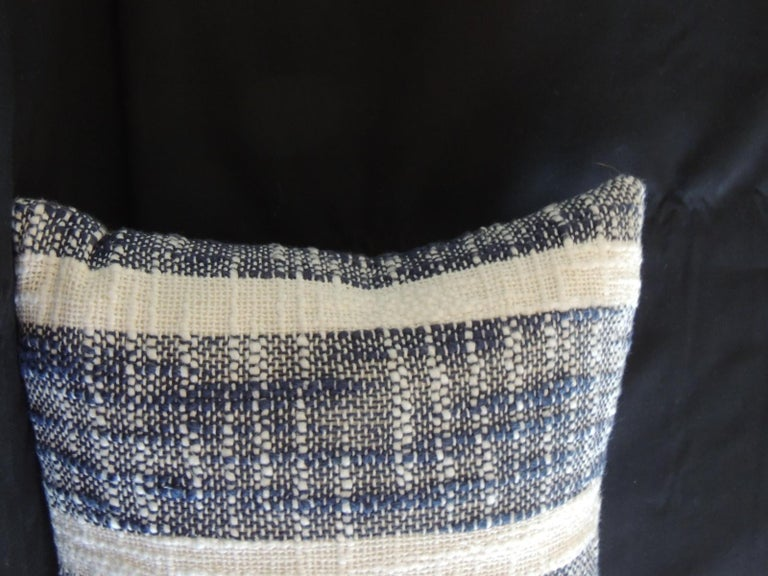 Vintage woven blue and white stripes petite lumbar decorative pillow with white cotton fabric backing.