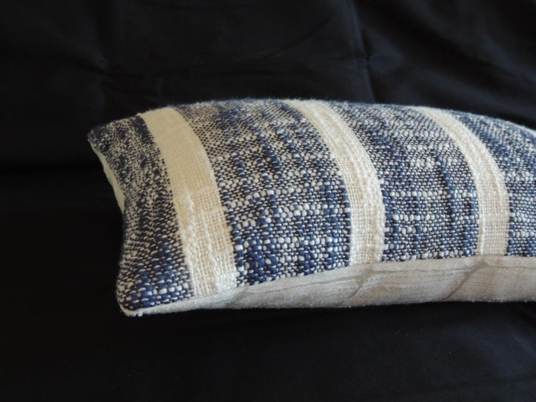 Indian Vintage Woven Blue and White Stripes Petite Lumbar Decorative Pillow For Sale