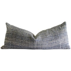 Vintage Woven Indigo Blue and Natural Lumbar Pillow