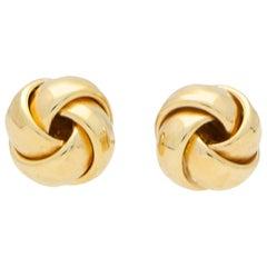Vintage Woven Knot Stud Earrings Set in 9 Karat Yellow Gold