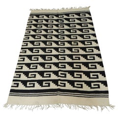 Vintage Woven Natural and Black Peruvian Flat-Weave Rug or Throw