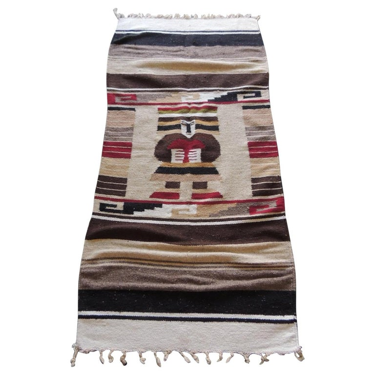 Vintage Woven Peruvian Throw with Fringes For Sale